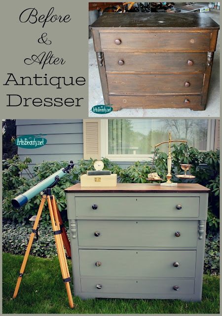 before and after custom earthy gray grey painted dresser makeover boho bohemian industrial style