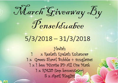 March Giveaway By Penselduabee, Blogger Giveaway, Hadiah, Peserta, Pemenang, Blog,