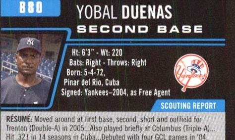 Yobal Dueñas firmó con los Yankees en el 2004 y tuvo lLnea ofensiva de .266/.295/.393 en 97 partidos en las ligas Menores
