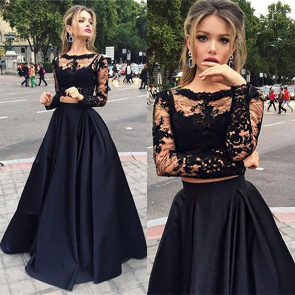 Modern Two Piece Black Lace A-line Long Sleeve Prom Dress