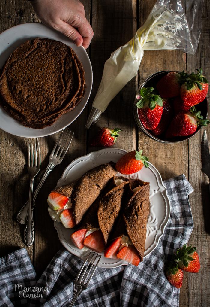 Tortitas de avena y cacao. Receta sin gluten.