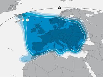 المناطق المعنية باستقبال والتقاط اشارة وتردد قناة frequence foot+ plus 24 sur astra