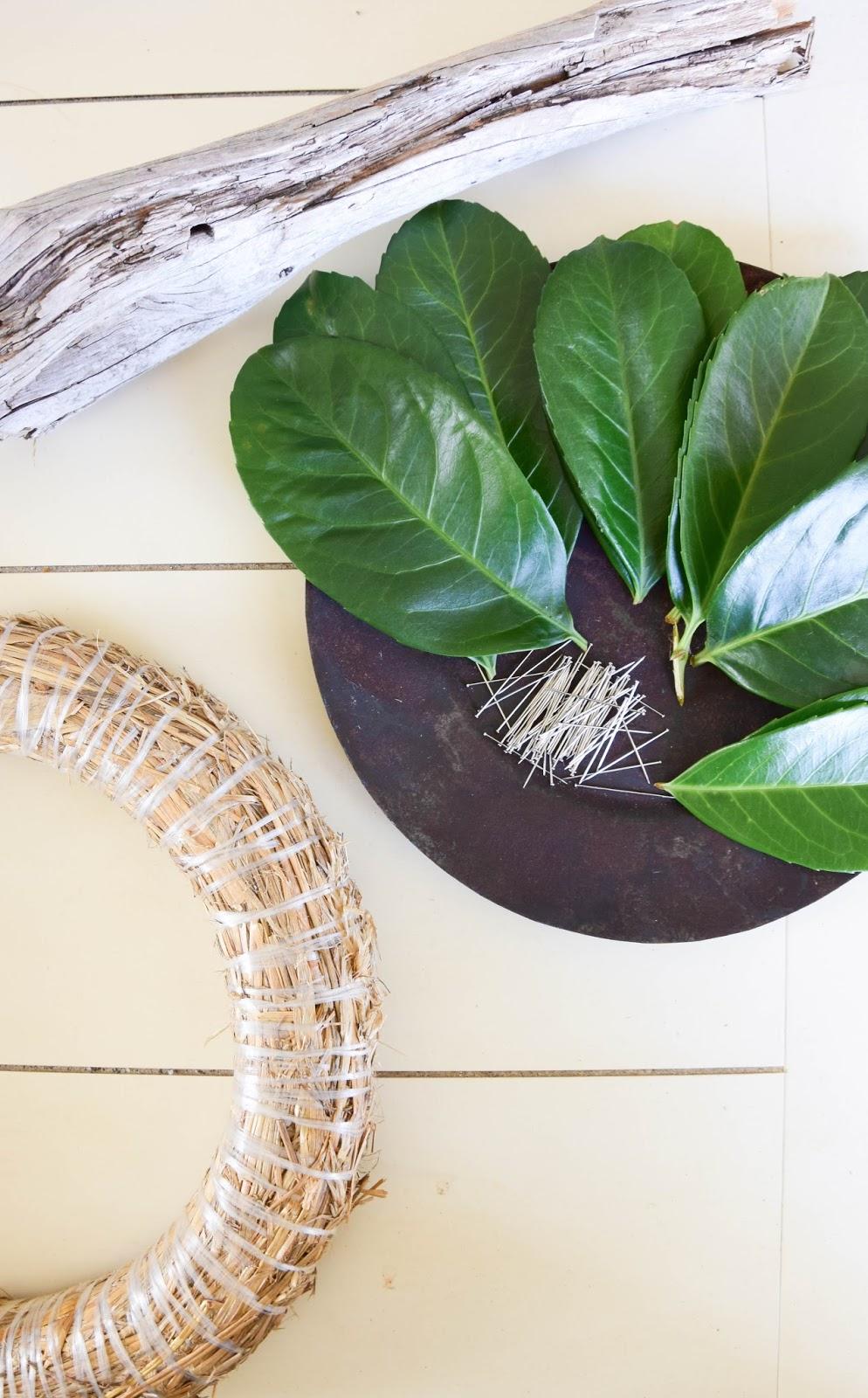 Kranz aus Kirschlorbeer selbermachen für Haustüre oder Wand. Einfaches DIY für Kirschlorbeerkranz