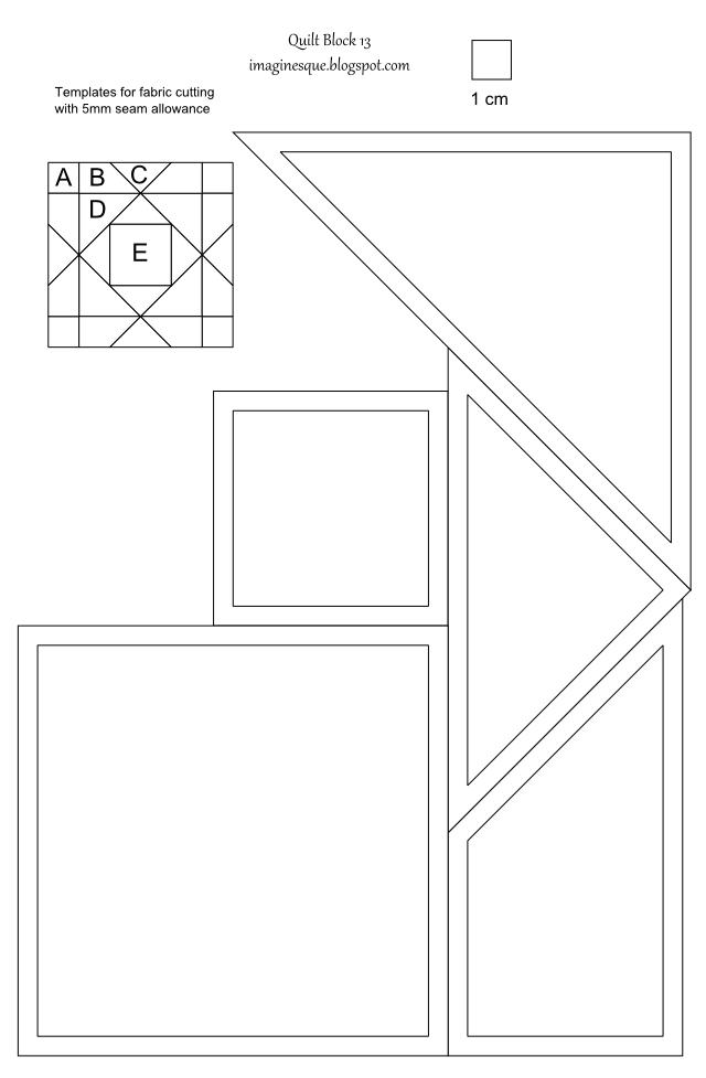 4 blocker template - imaginesque quilt block 13 pattern and template
