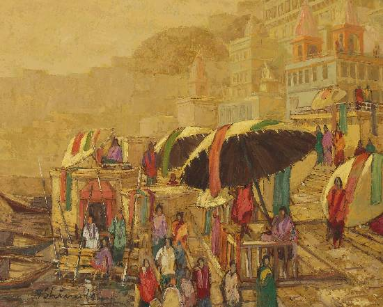 Banaras-18, painting by Yashwant Shirwadkar, Oil on Canvas, 24 x 30 inches (@ Indiaart Gallery, www.indiaart.com)