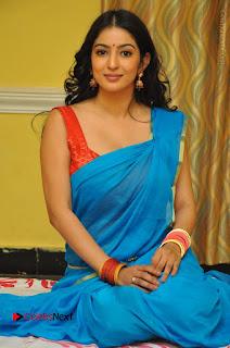 Telugu Actress Vaibhavi Stills in Blue Saree at Www.Meena Bazaar Movie Opening  0089.JPG