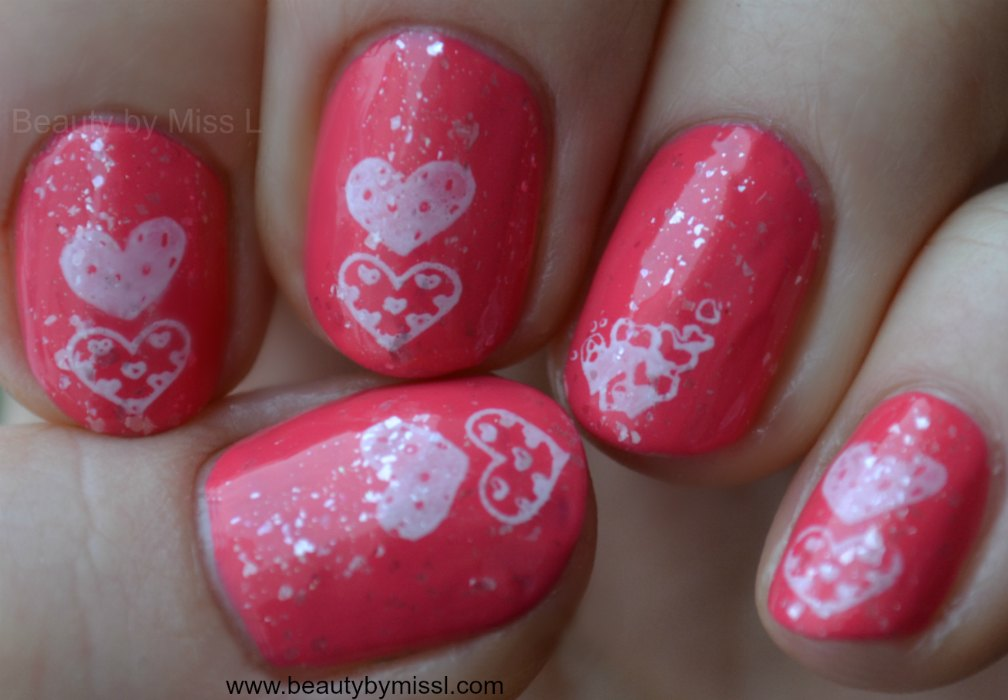 nail art satmping, Valentine´s Day manicure