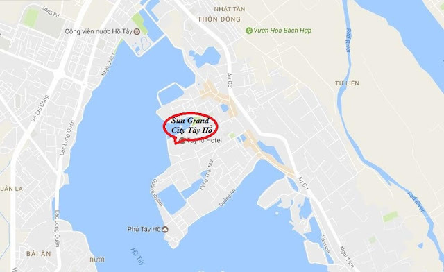 Vị trí của chung cư Sun Group Quảng An Tây Hồ.