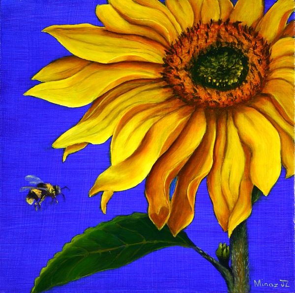 "Sunflower Diptych; TOP  The Bee Oil on 12"" x 12"" by Minaz Jantz"