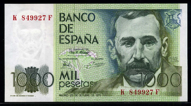 Spain currency money 1000 Pesetas Canary Islands Spain