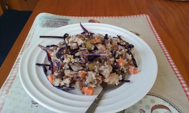 Insalata di tonno, miglio e lenticchie