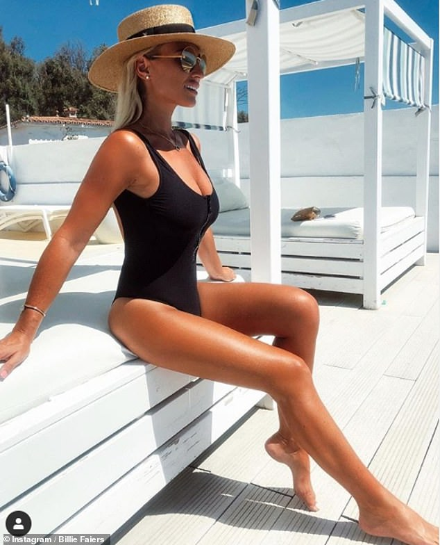 Billie Faiers proudly displays her sexy physique In a black swimsuit