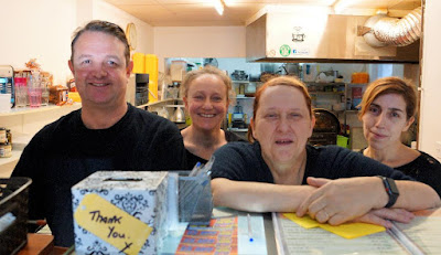 Parris Watson and staff at the Deli Diner in Brigg - February 2019