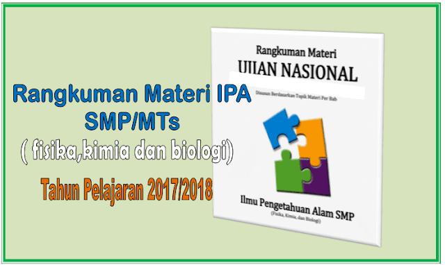 Rangkuman Materi Ujian Nasional IPA Biologi Kimia Fisika SMP/MTs 2018
