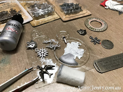 Tim Holtz Idea-Ology embellishments and findings being altered with silver ink - mixed media art by Jenny James