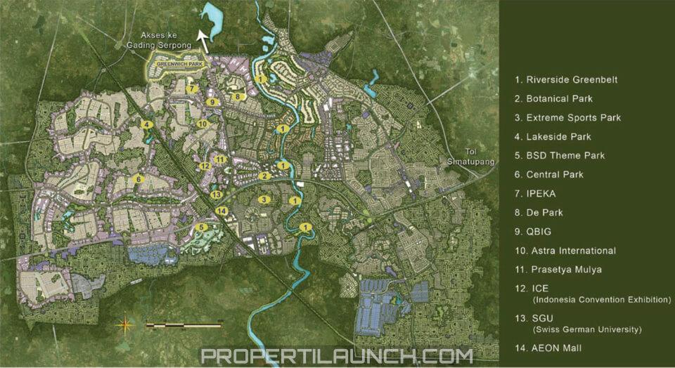 Peta Lokasi Greewwich Park BSD