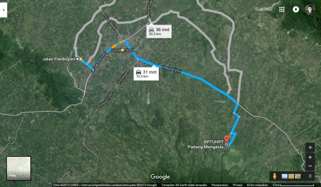 Lokasi arah Padang mangateh