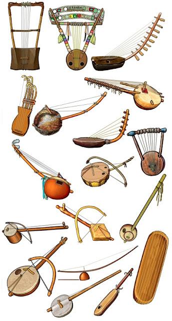 アフリカの民族楽器 弦楽器のイラスト