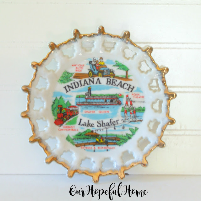 Indiana beach Lake Shafer collectible plate