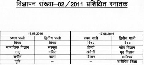 image : UPSESSB TGT Exam (2011) Time Table 2016 @ www.TeachMatters.in