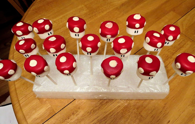 Mario Mushroom Marshmallow Pops - Overhead View