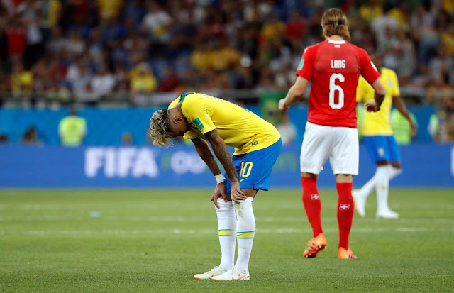 Brazil's Neymar reacted after World Cup match against Switzerland