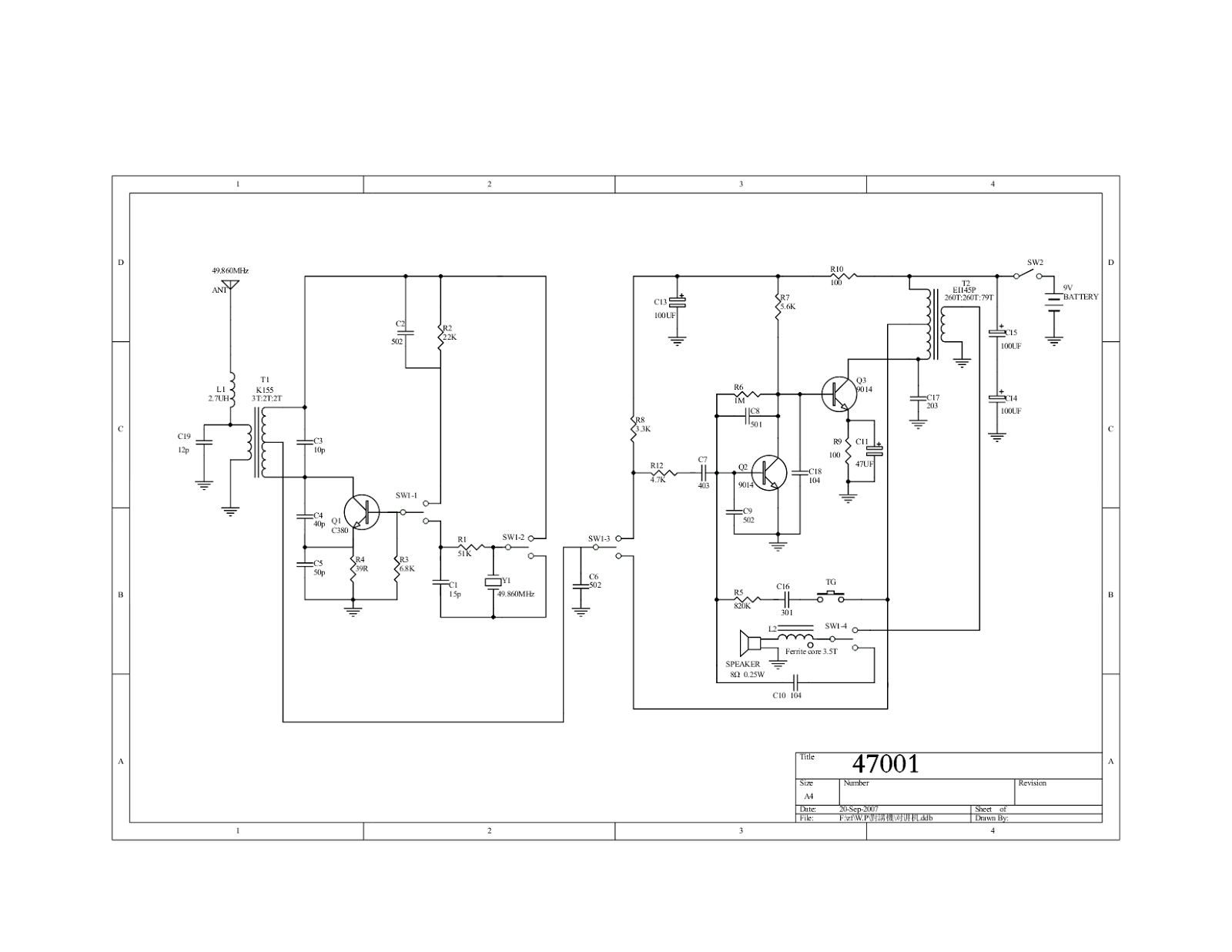 walkie talkie circuit diagram explanation