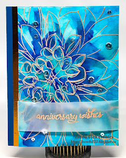 Linda Vich Creates: Dahlia Up Close. Rose Gold embossed dahlia is painted with shades of blue Color Burst watercolors on this lovely anniversary card.