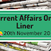 Current Affairs One-Liner: 20th November 2019