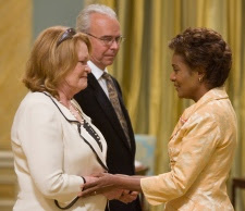 In 2007, Gov. Gen. Michaelle Jean presented Janet Wright with the Medal of Bravery for her daughter Rachel Davis, at the Bravery Awards ceremony at Rideau Hall in Ottawa. Wright's daughter got the award for breaking up a gang assault on a teenage boy in Vancouver, B.C., and was killed by a rival gang member's gun in a scuffle that followed the initial fight. (CANADIAN PRESS / Tom Hanson)