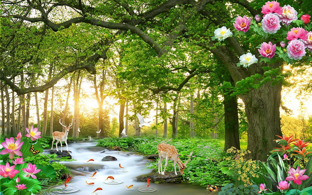 Tranh dán tường phong cảnh rừng cây thác nước