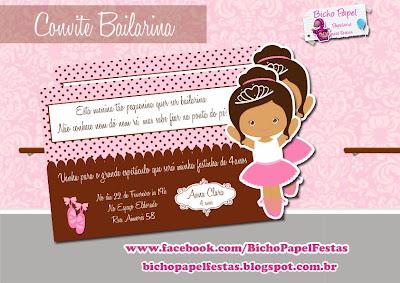 convite bailarina marrom e rosa