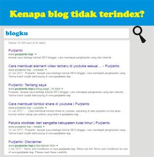 Kenapa blog tidak terindeks oleh google?