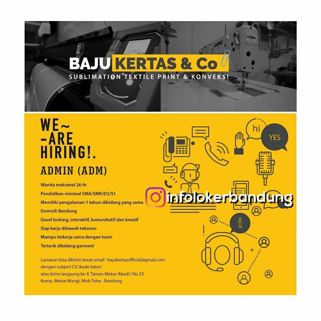 Lowongan Kerja Baju Kertas & Co Bandung Februari 2018