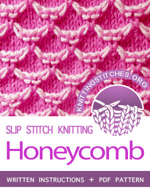 SLIP STITCH KNITTING. #howtoknit the Two-color Honeycomb stitch. FREE written instructions, PDF knitting pattern.  #knittingstitches #slipstitchknitting