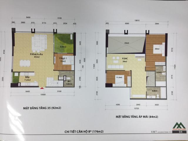 Thiết kế căn hộ 176m2 loại B Penthouse tòa CT1 Eco green city