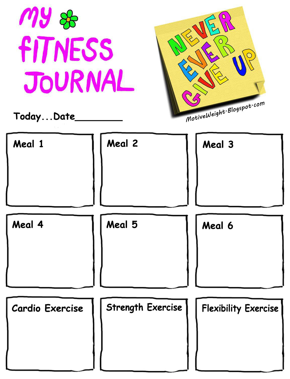 Motiveweight keep a fitness journal for Fitness journal template printable