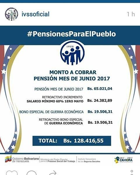MONTO A COBRAR  PENSIÓN MES DE JUNIO 2017