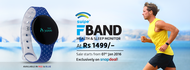 Swipe Technologies launches its first fitness wearable called F-Band in India exclusively on Snapdeal for Rs. 1499