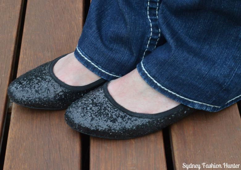 Shoes of Prey Black Glitter Ballet Flats