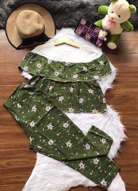 Set nguyên bộ áo tay bèo và quần lửng