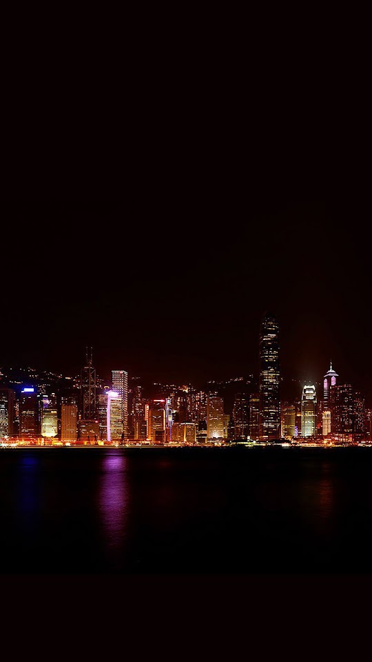 Hong Kong City Night Skyline  Galaxy Note HD Wallpaper