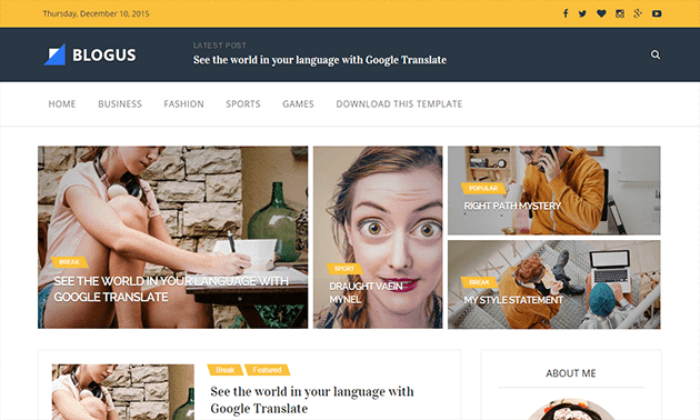 The blogus blogger template fully responsive and seo friendly blogger template