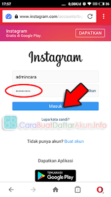 sign in instagram via web lewat hp