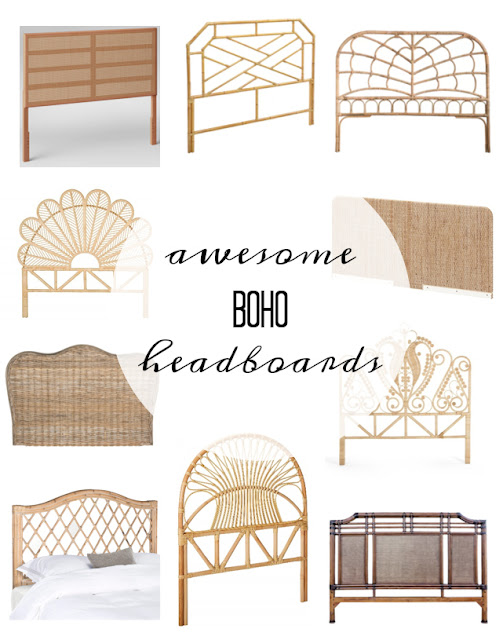 Round up of vintage, rattan, cane, and bamboo headboards