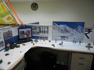 mesmerizing office cubicle decoration feats army table displays and snowy mountain painting ideas