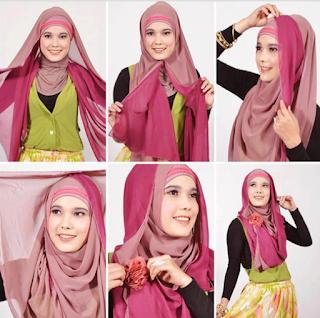 Cara Memakai Hijab Segi Empat Modern Dua Warna