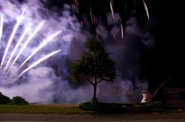 smoke and fireworks, pine tree