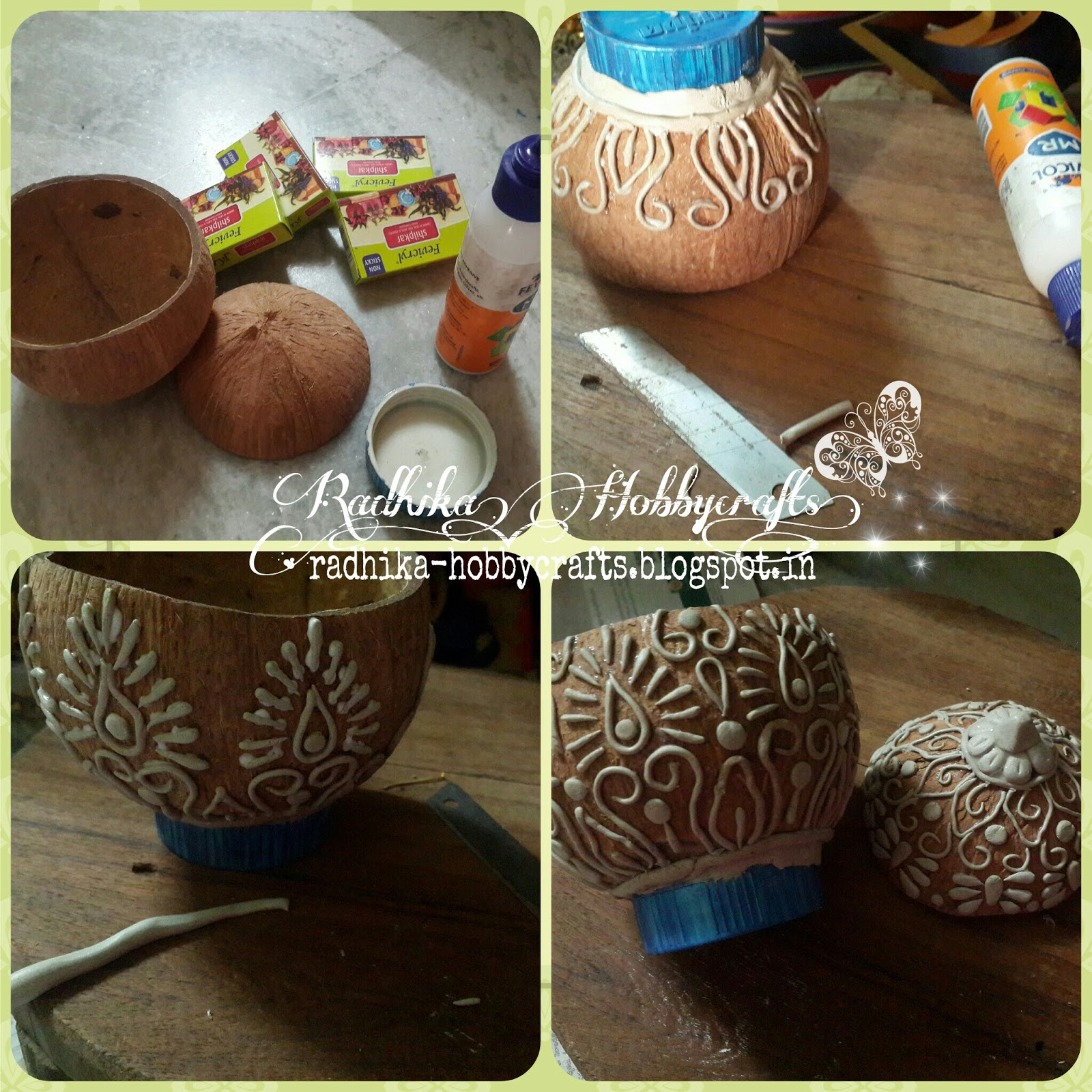 Hobby crafts coconut shell box for Wealth from waste ideas