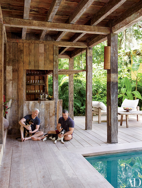 Rustic decor and colorful design in Anderson Cooper's Brazilian beach house on Hello Lovely Studio